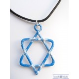 Star of David Blue Enamel Necklace