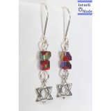 Silver Star of David earrings with red beads