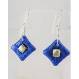 Royal Blue Dichroic Glass Earrings