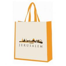 Elegant Cotton Tote Bag With Jerusalem Skyline