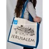 Jerusalem Elegant Blue Trimmed Large Tote Bag